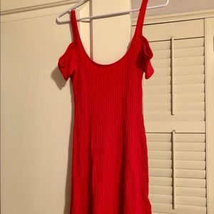 Silence + Noise Cold Shoulder Red Dress
